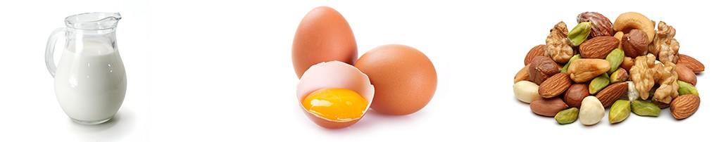 молоко яйца орехи